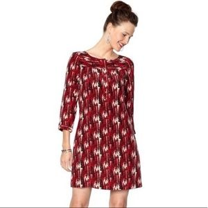 Fossil Red Feather Print Silk Dress